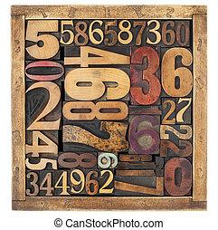 numrera, abstrakt, in, ved, typ