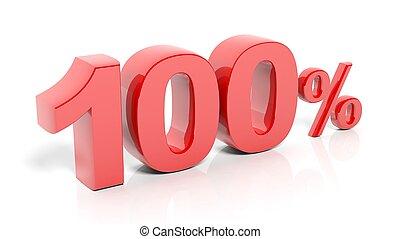 numrera, procent, isolerat, bakgrund., 100, vit röd