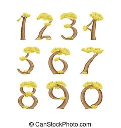 numrerar, in, den, bilda, av, a, träd