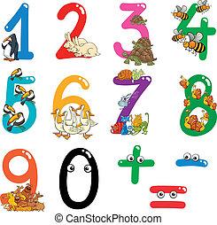 numrerar, med, tecknad film, djuren
