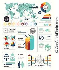 numrerat, vara, grafisk, layout, nymodig, fodrar, horisontal...