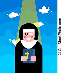 Nun and Blessing. Religious woman. Vector illustration