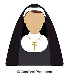 Nun cartoon icon. Isolated vector illustration.