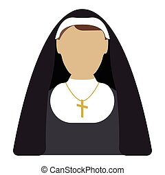 Nun cartoon icon. Isolated vector illustration.