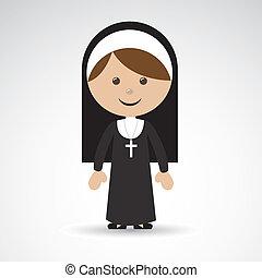 nun design over gray background vector illustration