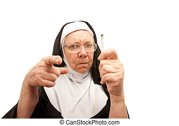 Nun horrified by cigarette - Stern nun reprimanding over a...
