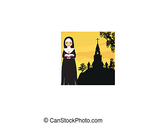 nun praying in front of the church
