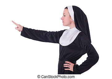 Nun pressing virtual buttons on white