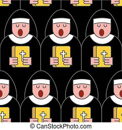 nun seamless pattern. Catholic Religious woman linear style. Monastic Choir