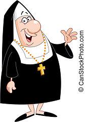 Nun - Smiling nun waving