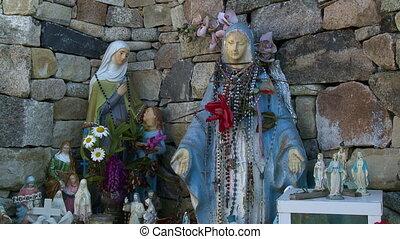 Nun Statues In Outdoor Corner