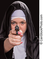Nun with a gun shooting