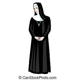 Nun with Cross - Nun in black with Cross