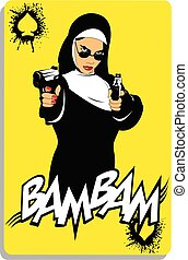 nun with two black pistols on a playing card.eps