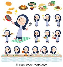 Nun women_cooking - A set of Nun women about cooking.There...