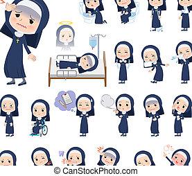 Nun women_sickness - A set of Nun women with injury and...