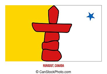 Nunavut Flag Vector Illustration on White Background. Territory Flag of Canada