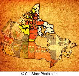nunavut on map of canada