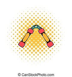 Nunchaku weapon icon, comics style