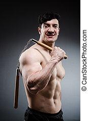 nunchucks, muscular, homem, forte