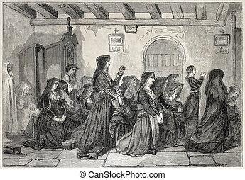 Nuns at mass - Old illustration of nuns attending mass at...