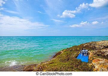 nuotare, blu, muschio, cielo, maschera, aeratore, mare, roccia, spiaggia, pinne