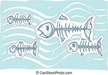 nuotare, fish, morto