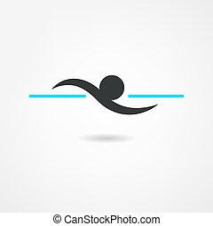 nuotatore, icona