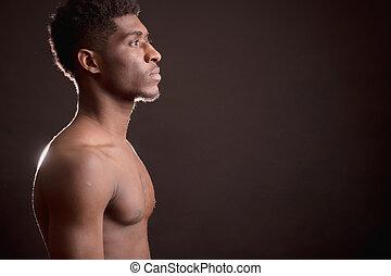 nuotatore, indietro, muscolare, isolato, nprofile, fondo, afro