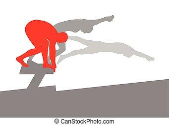 nuotatore, posizione, per, salto, su, blocco di partenza, vettore, fondo, concetto