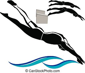nuotatori, atleti, logotipo, nuoto