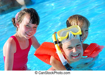 nuotatori, giovane, felice