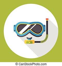 nuoto, appartamento, occhiali protezione, icona