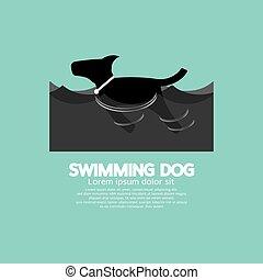 nuoto, cane, vector., onda