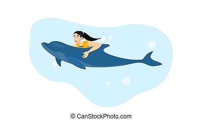 nuoto, estate, dolphin., donna, attività