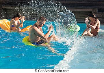 nuoto, giocando piscina, persone