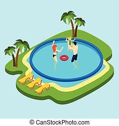 nuoto, illustrazione, stagno