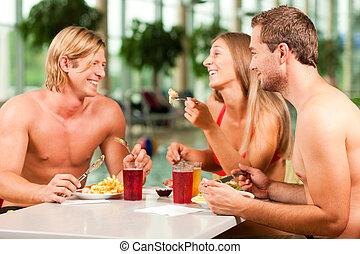 nuoto, mangiare, pubblico, stagno, ristorante