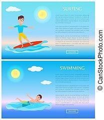 nuoto, surfing, sport, acqua, attività, cartelle