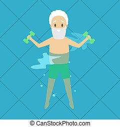 nuoto, vecchio, esercizio, stagno, uomo