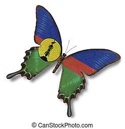 nuova caledonia, bandiera, su, farfalla