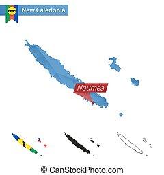 nuova caledonia, blu, basso, poly, mappa, con, capitale,...