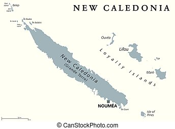 nuova caledonia, politico, mappa, grigio