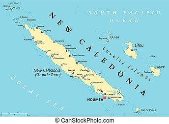 nuova caledonia, politico, mappa