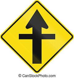 nuova zelanda, segno strada, -, incrocio, avanti, con, priorità