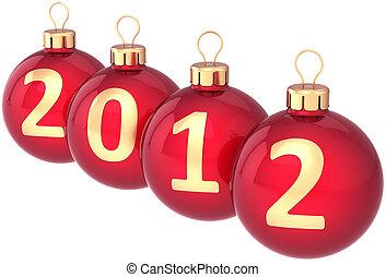 nuovo, 2012, anno, fronzolo, palla natale