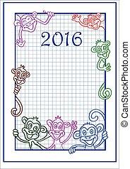 nuovo, 2016, scimmia, cinese, anno