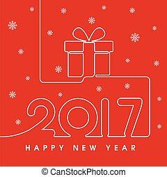 nuovo, 2017, felice, regalo, anno