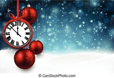 nuovo, 2017, fondo, clock., anno