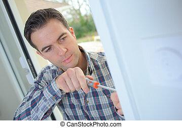 nuovo, aggancio, porta